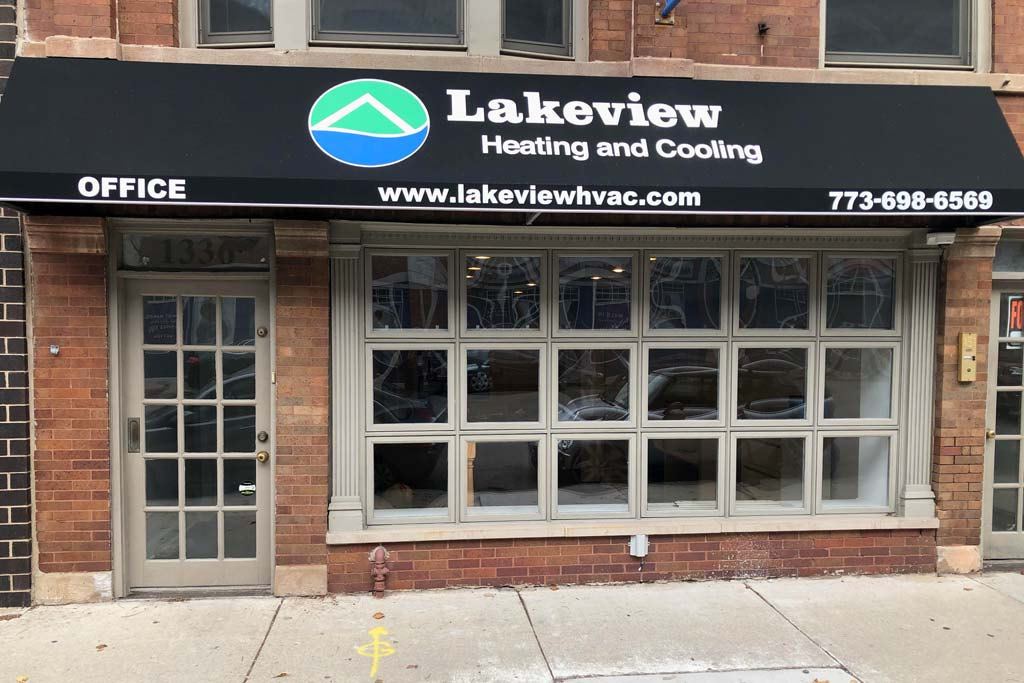 Lakeview HVAC storefront.